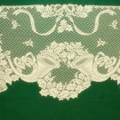 Lace Mantel Scarf Horns and Holly 20x96 Ivory