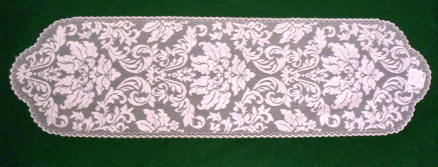 Heritage Damask  Table Runner 14 x 64 Pearl Heritage Lace