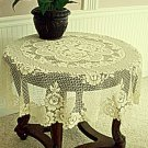 Round Table Topper Victorian Rose 43 Inch Round Ecru Heritage Lace