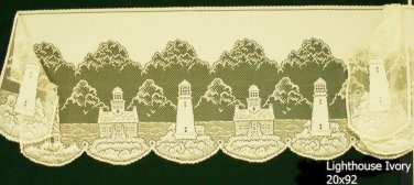 Mantel Scarf Lighthouse Ivory 20x92 Heritage Lace