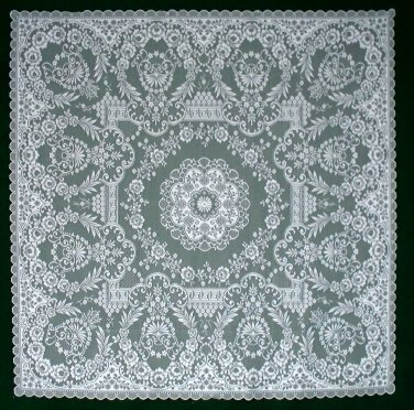 Lace Table Topper Grantham White 42x42 Heritage Lace