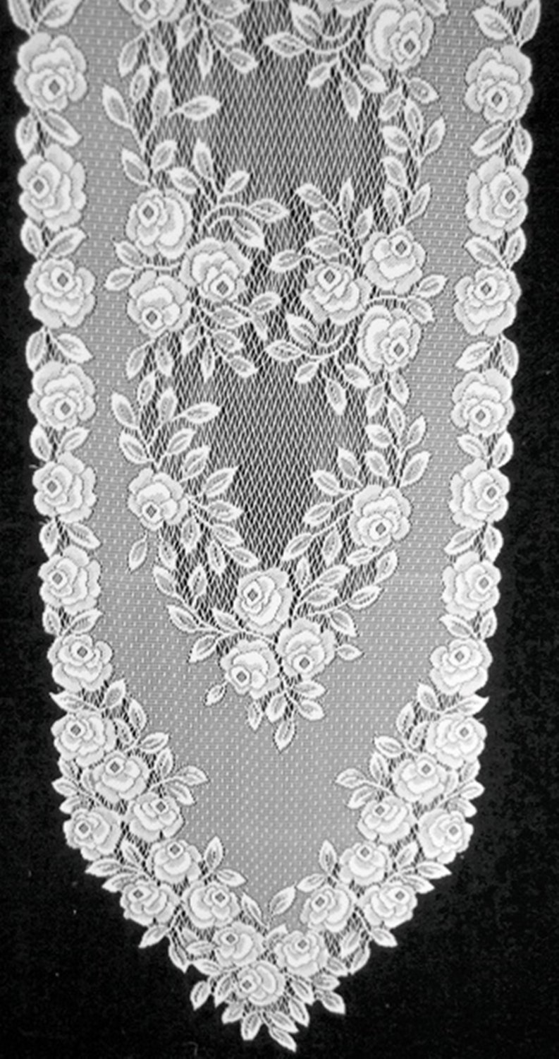 Table Runners Tea Rose White 14x60 Lace Table Runner Heritage Lace
