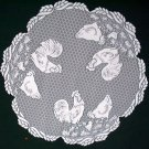 Rooster 30 Inch Round White Lace Table Topper Heritage Lace