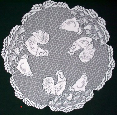 Table Topper Tablecloth Farm Chicken Pattern 30 Inch Round White Heritage Lace