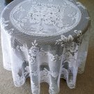 Round Tablecloth Victorian Rose 72 Round White Heritage Lace