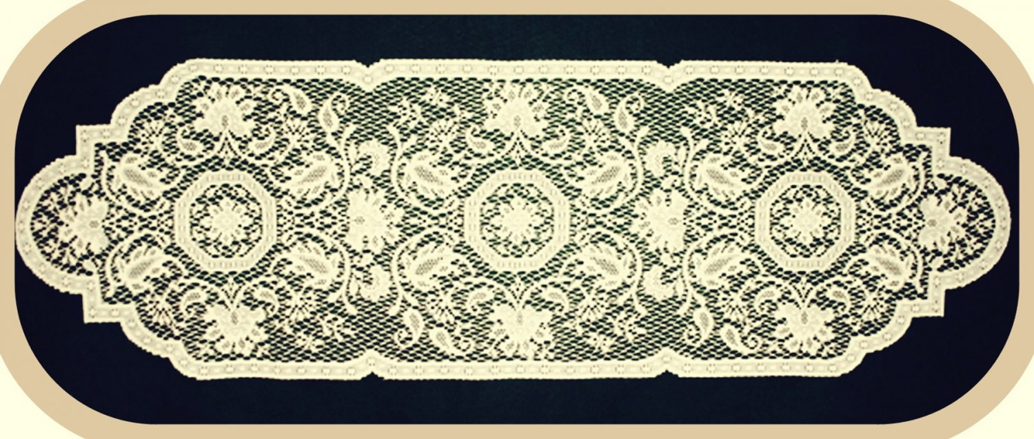 Table Runners Medallion Table Linens  14x46 EcruHeritage Lace