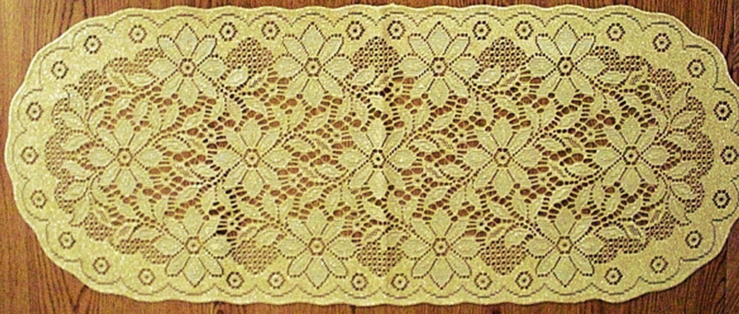 Table Runners Poinsettia 14x36 Antique Gold Lame Table Runner Oxford House
