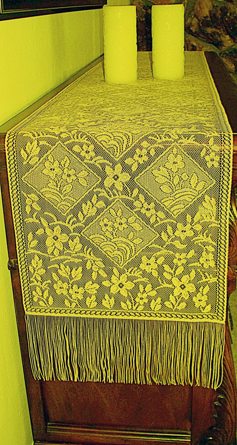 Table Runner Chantilly 14x102 Gold Table Runner Heritage Lace
