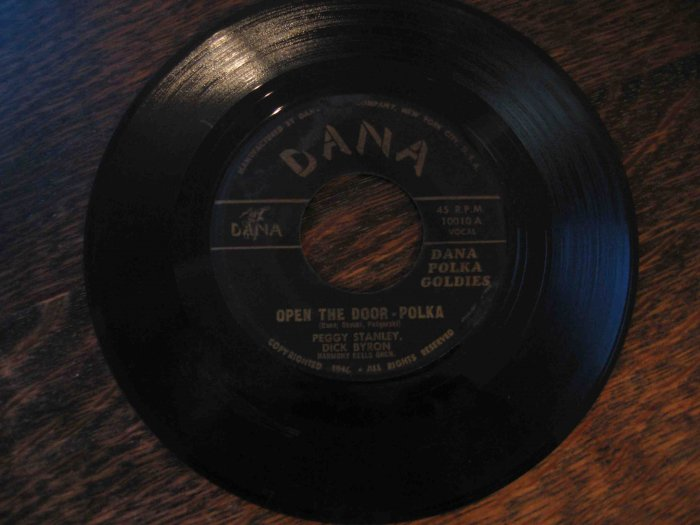 "45rpm single: Peggy Stanley/Dick Byron, ""Dana Polka Goodies"""