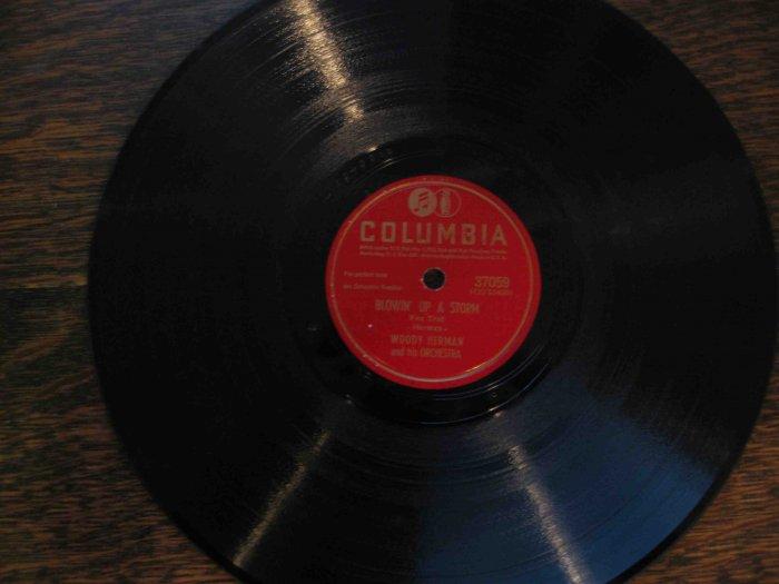 "Woody Herman 78 rpm record, ""Blowin' Up a Storm"" b/w ""Fan It"""