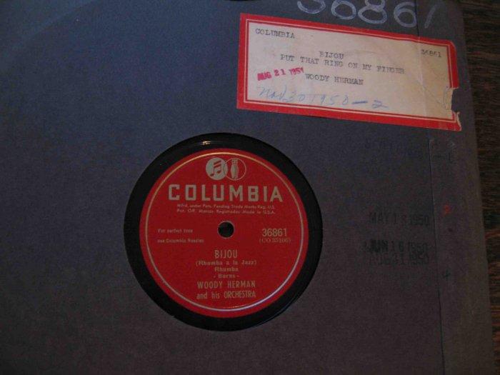 "Woody Herman 78 rpm record, ""Bijou (Rhumba a la Jazz)"" b/w ""Put That Ring on My Finger"""