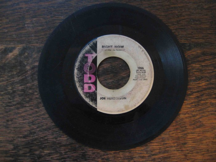 """Joe Henderson 45rpm, """"Right Now"""" b/w """"Baby Don't Leave Me"""""""