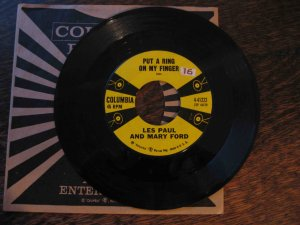 """Les Paul & Mary Ford 45rpm, """"Put a Ring on My Finger"""" b/w """"Fantasy"""""""