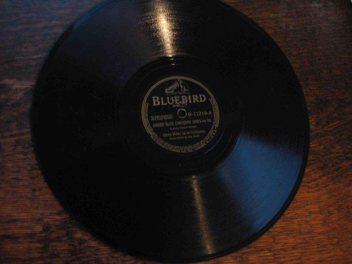 "Glenn Miller 78 rpm record, ""Under Blue Canadian Skies"" b/w ""Adios"""