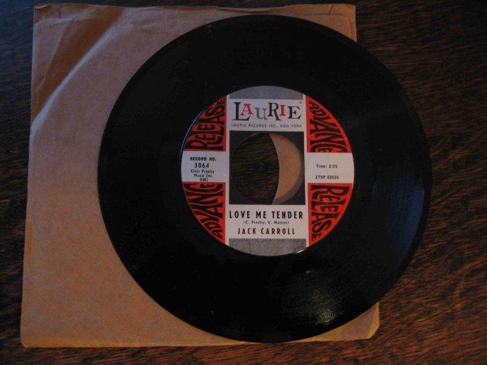 "Jack Carroll 45rpm single, ""Love Me Tender"" b/w ""Sally Come Back"""