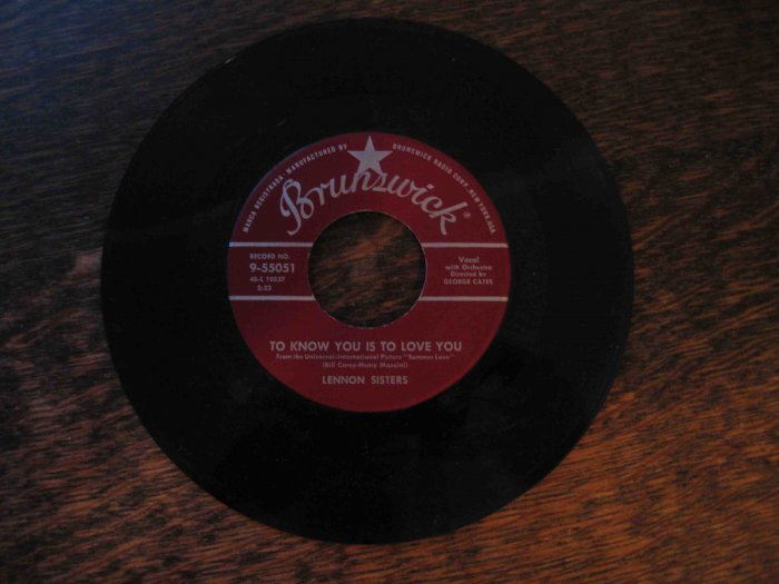 """Lennon Sisters 45rpm single, """"To Know You Is to Love You"""" b/w """"Hide Your Troubles behind a Smile"""""""