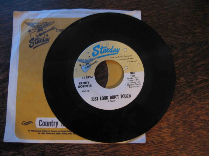 """Kenny Roberts 45rpm single, """"Just Look Don't Touch"""" b/w """"Singing River"""""""