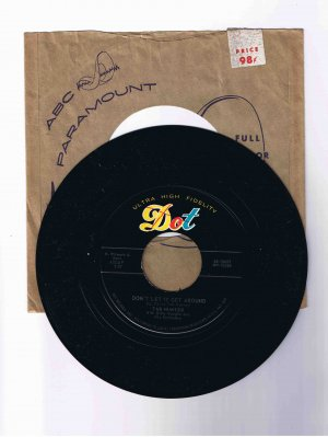 "Tab Hunter 45rpm single, ""Don't Let It Get Around"" b/w ""I'm Alone Because I Love You"""