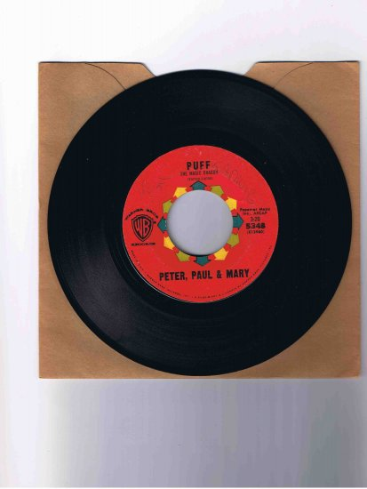 "Peter, Paul & Mary 45rpm single, ""Puff the Magic Dragon"" b/w ""Pretty Mary"""