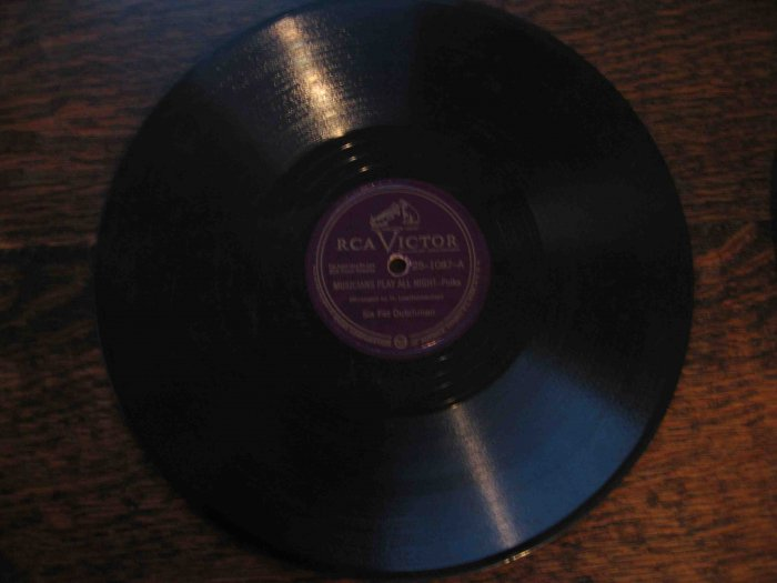 "Six Fat Dutchmen 78 rpm single, ""Musicians Play All Night"" (polka) b/w ""Kirmess Waltz"""