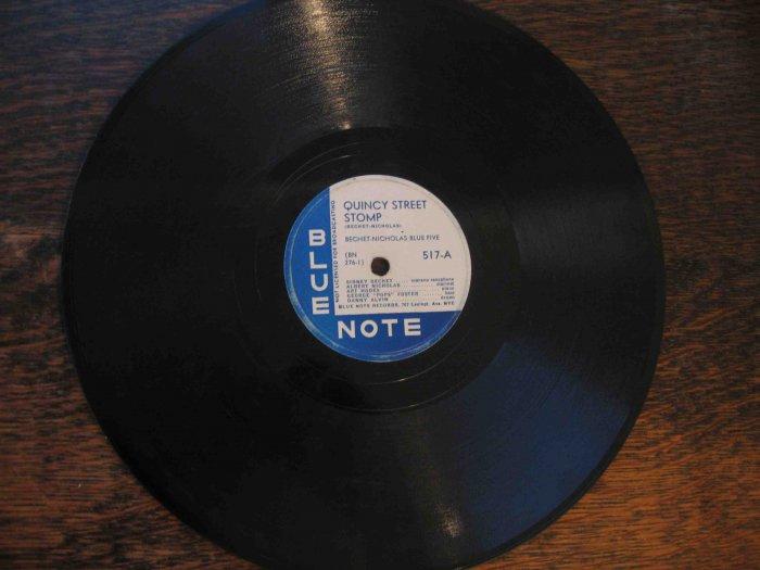 "Sidney Bechet 78 rpm record, ""Quincy Street Stomp"" b/w ""Weary Way Blues"" (Blue Note)"