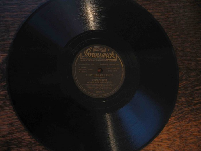 "King Oliver 78 rpm record, ""Aunt Hagar's Blues"" b/w ""Speakeasy Blues"""