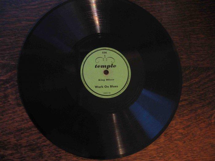 "King Oliver 78 rpm record, ""Work Ox Blues"" b/w ""Frisco Train Blues"""