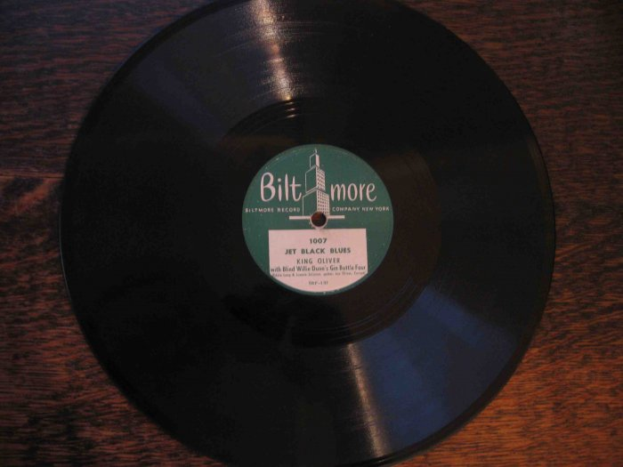 "King Oliver/Blind Willie Dunn 78 rpm record, ""Jet Black Blues""/""Blue Blood Blues"