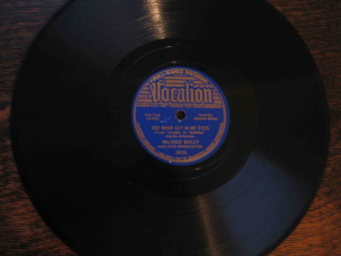 "Mildred Bailey 78 rpm record, ""The Moon Got in My Eyes""/""It's the Natural Thing to Do"""
