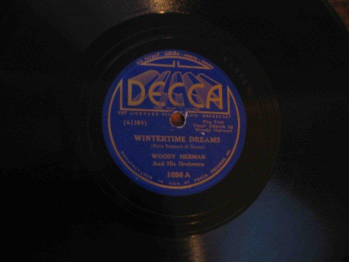 "Woody Herman 78 rpm record, ""Wintertime Dreams"" b/w ""The Goose Hangs High"""