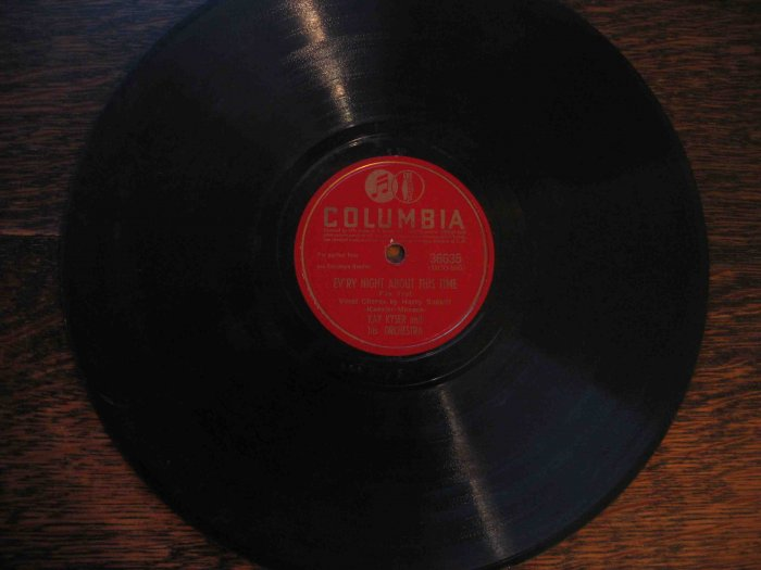 "Kay Kyser 78 rpm record, ""Ev'ry Night About This Time"" b/w ""Strip Polka"""