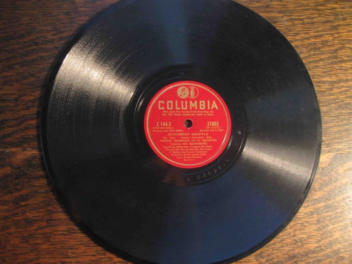 "Frankie Trumbauer/Bix Beiderbecke 78 rpm record, ""Riverboat Shuffle"" b/w ""Ostrich Walk"" (1927)"