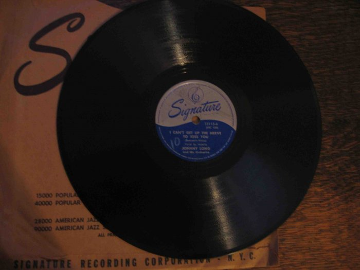 "Johnny Long/Francey Lane 78 rpm single, ""I Can't Get Up the Nerve to Kiss You""/""My Love for You"""