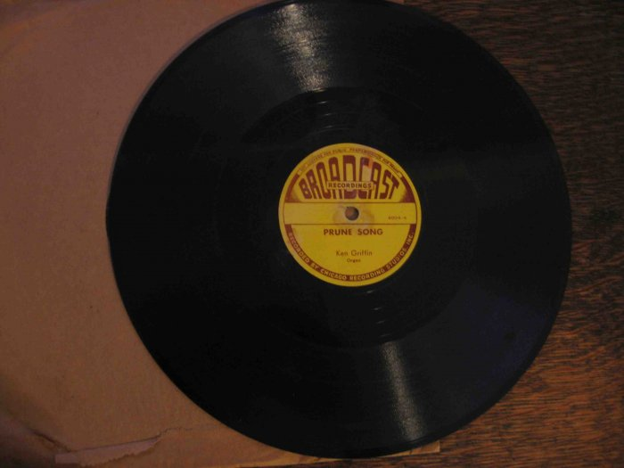 "Ken Griffin 78 rpm record, ""Prune Song"" b/w ""Glow Worm"""