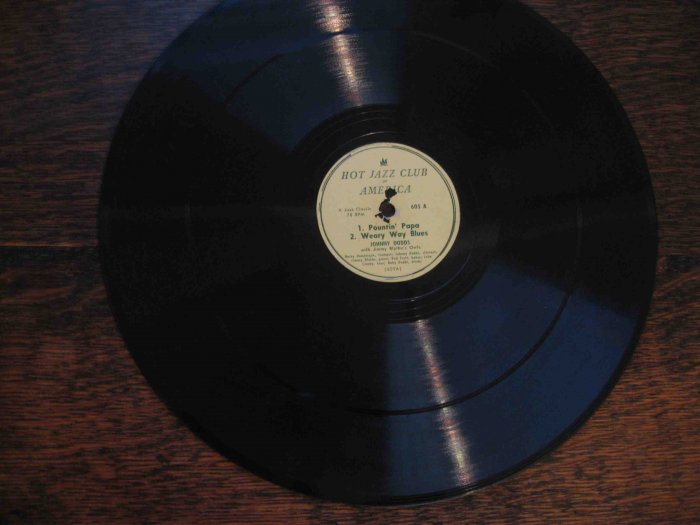 "Johnny Dodds/Omer Simeon 12"" 78 rpm record, ""Pountin' Papa""/""Beau-Koo-Jack""/etc."