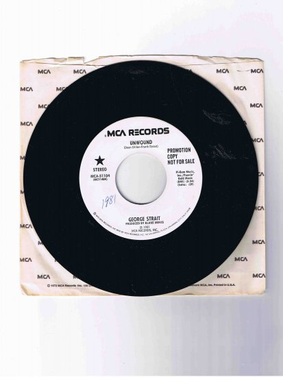 "George Strait 45 rpm single, ""Unwound"" (1981) in sleeve"