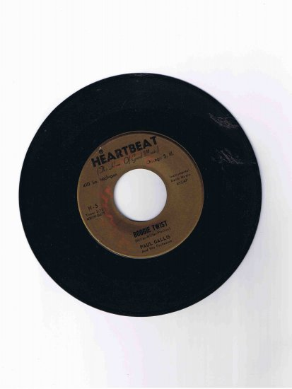 "Paul Gallis 45 rpm single, ""Boogie Twist"" b/w ""(Sweet Sue) Cha-Cha-Twist"""