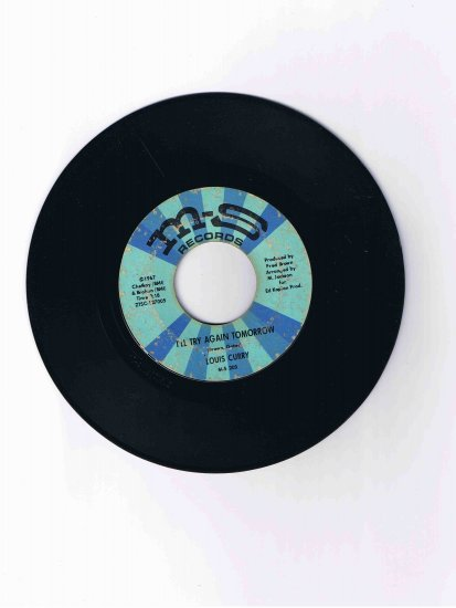 """Louis Curry 45 rpm single, """"I'll Try Again Tomorrow"""" / """"A Toast to You"""" (1967)"""