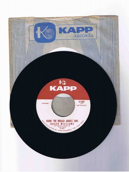 "Roger Williams Christmas 45 rpm, ""Hark! the Herald Angels Sing"" / ""Adeste Fideles"" (Kapp)"
