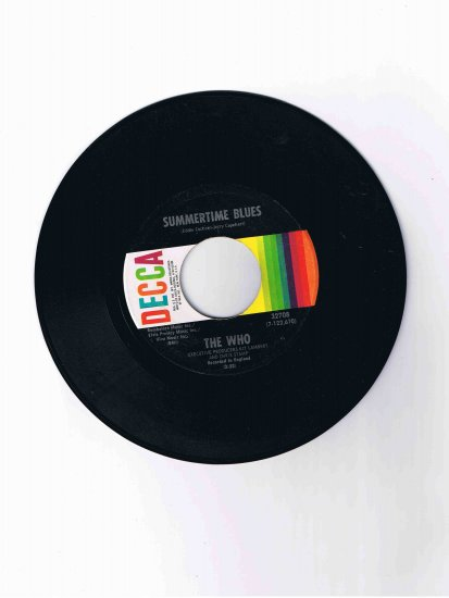 """The Who, 45 rpm single, """"Summertime Blues"""" b/w """"Heaven and Hell"""""""