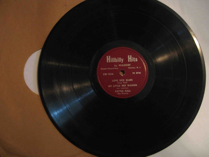 """""""Hillbilly Hits by Waldorf"""" 78 rpm record with Doug Wells, Ray Brannon, Bunkhouse Trio"""