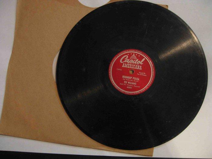 "Tex Williams western swing 78 rpm record, ""Roundup Polka"" / ""Smoke! Smoke! Smoke!"""
