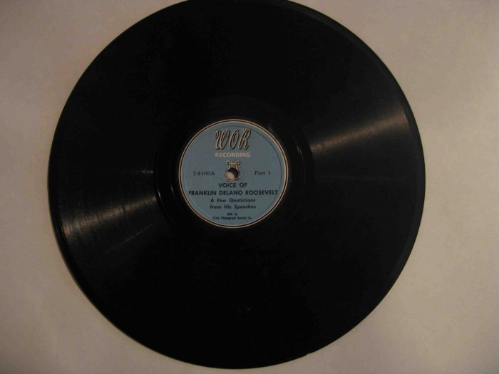 78 rpm spoken word record: Voice of Franklin D. Roosevelt (selections from speeches)