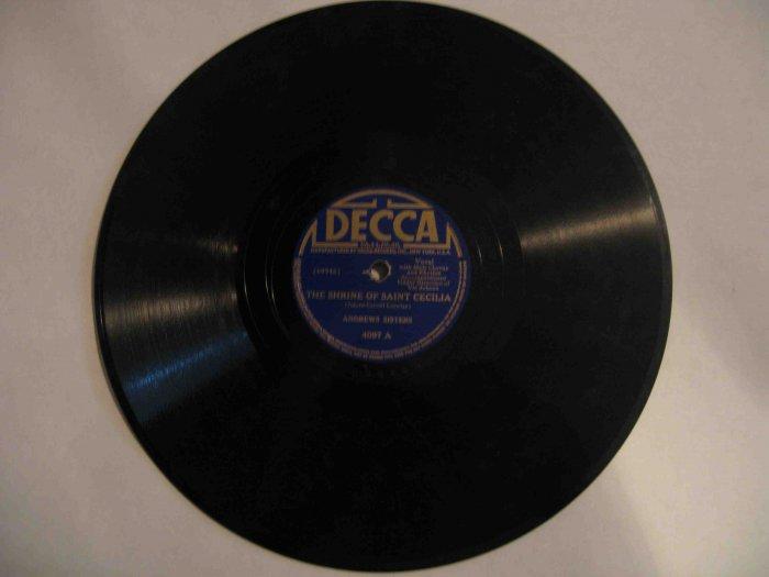 "Andrews Sisters 78 rpm record, ""Shrine of Saint Cecilia"" b/w ""Jack of All Trades"" (Decca)"