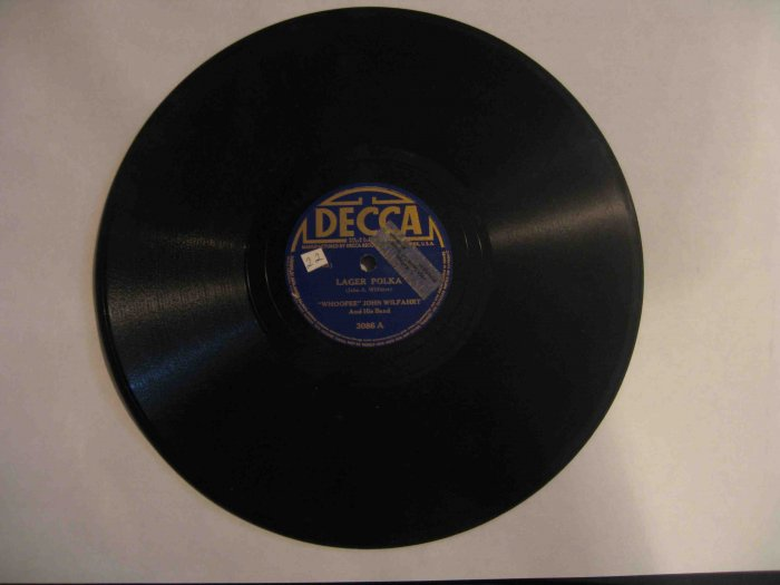 """Whoopee"" John Wilfahrt 78 rpm record, ""Lager Polka"" b/w ""Ring Dance Mazurka"""