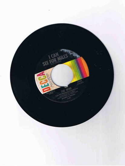 "The Who 45 rpm single, ""I Can See for Miles"" b/w ""Mary Anne with the Shaky Hands"""