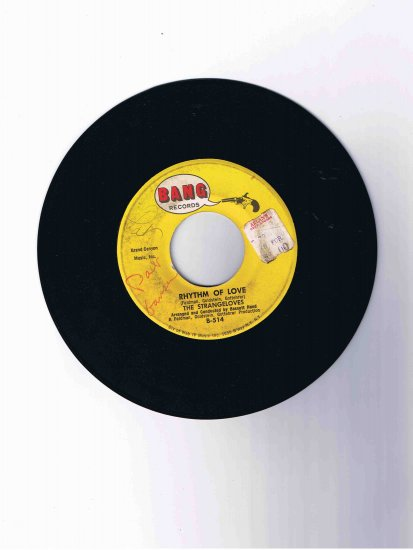 "Strangeloves 45 rpm single, ""Rhythm of Love"" / ""Night Time"""