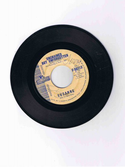 "Suzanne Mullins 45 rpm single, ""Unchained but Unforgotten""/""You May Never Know"" (audition disk)"