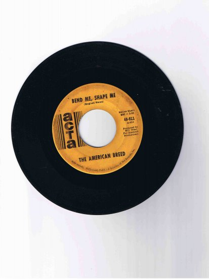 "American Breed 45rpm single, ""Bend Me, Shape Me""/""Mindrocker"" (1968)"
