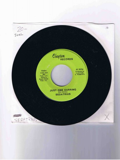 """Sedatrius 45rpm single, """"Just One Earring"""" / """"Joey Was the Last Boy"""" in sleeve; rare item"""